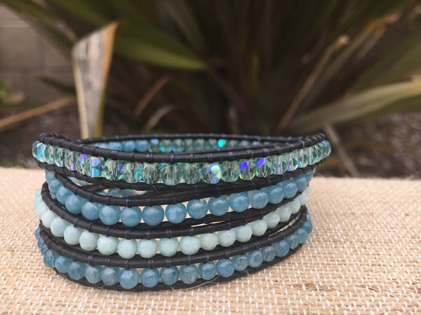 4-Wrap Bracelet - Shades of Blue Aqua