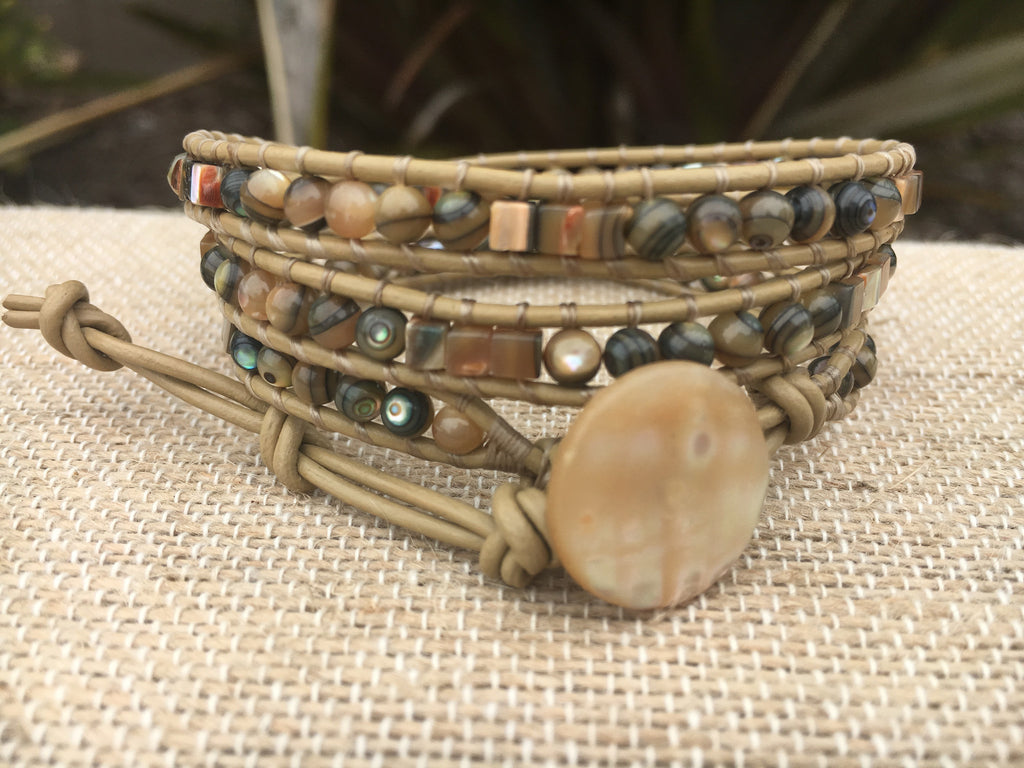 3-Wrap Bracelet - Abalone - Fall Pick