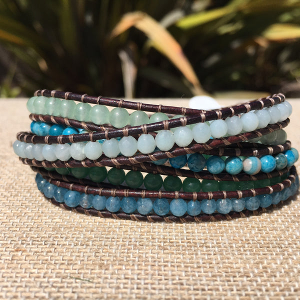5-wrap Bracelet - 5 Stone Blues and Greens on Brown - Fall Pick