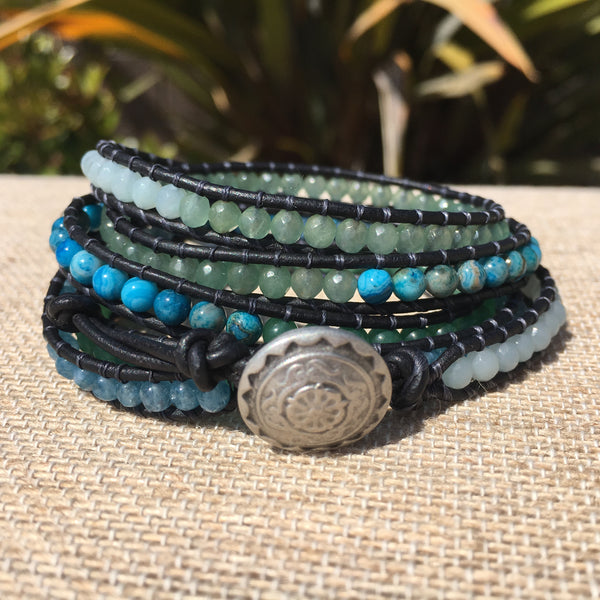 5-wrap Bracelet - 5 Stone Blues and Greens - Fall Pick