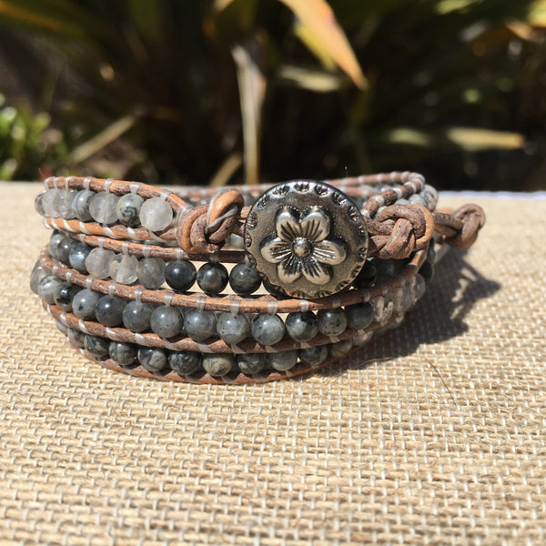 4-Wrap Bracelet - Silver Crazy Lace Agate and Grey Quartz - Fall Pick