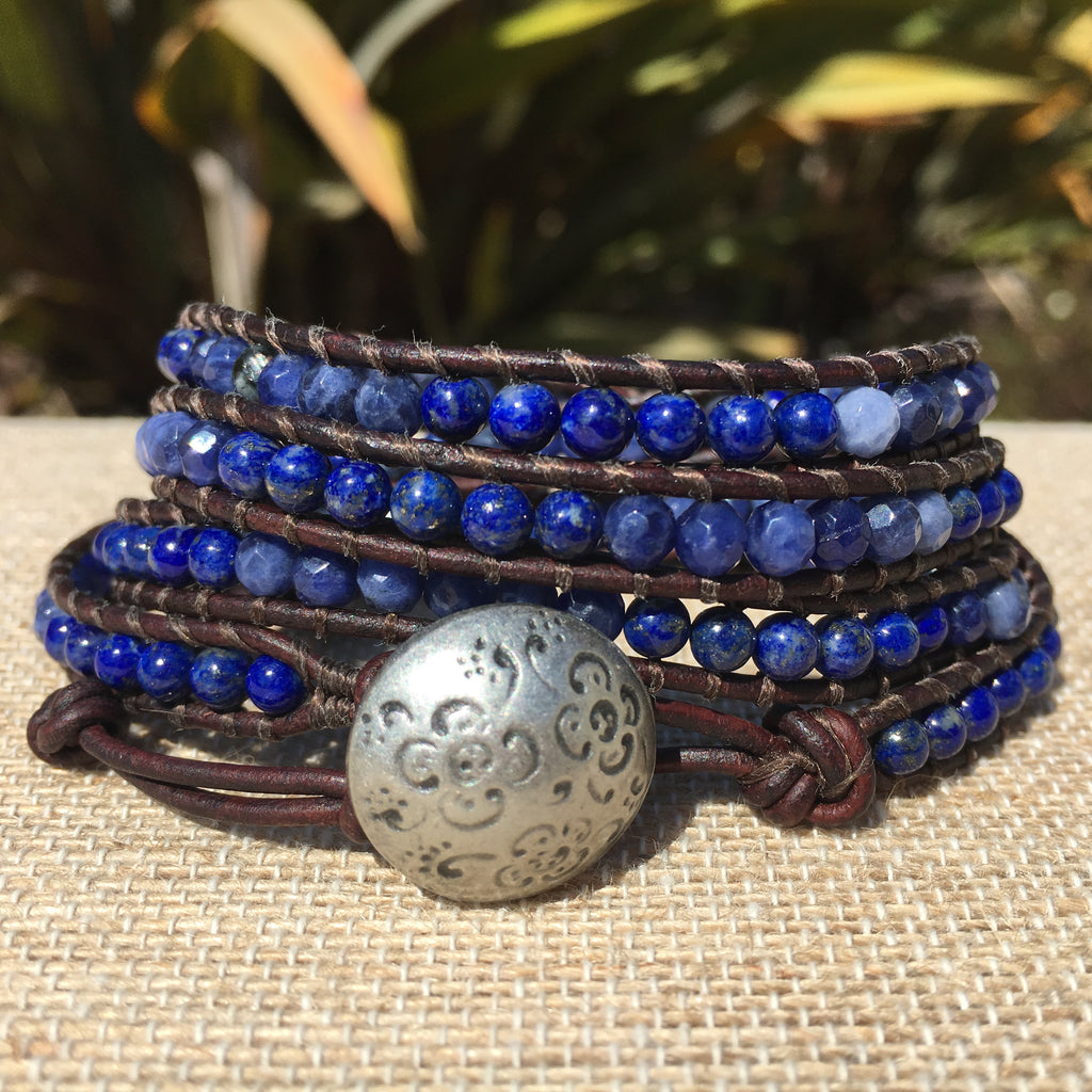 4-Wrap Bracelet - Lapis and Dumorterite-version 2 - Fall Pick