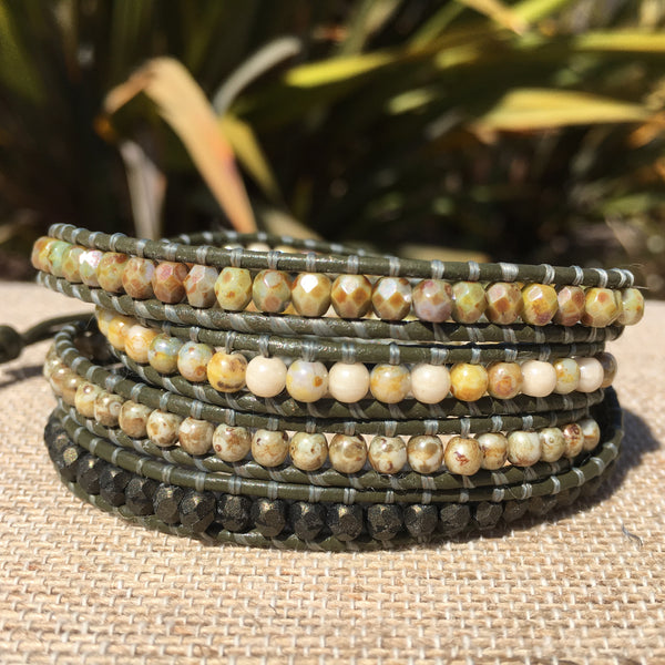 4-Wrap Bracelet - Multi Greens