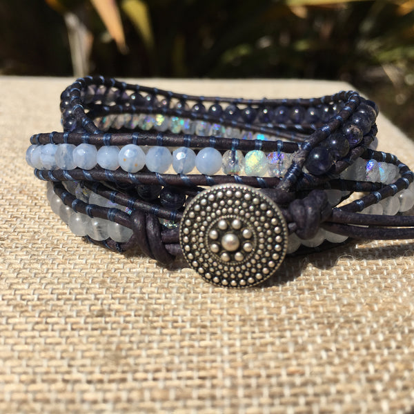 4-Wrap Bracelet - Blues to White