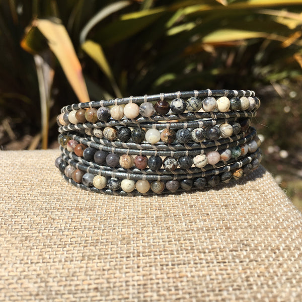 4-Wrap Bracelet - Black Silver Leaf Jasper-Version 2
