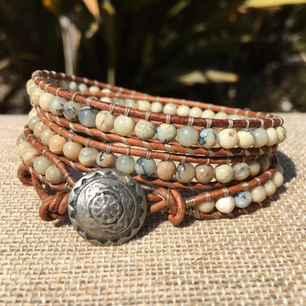 3-Wrap Bracelet - White African Opal - Fall Pick