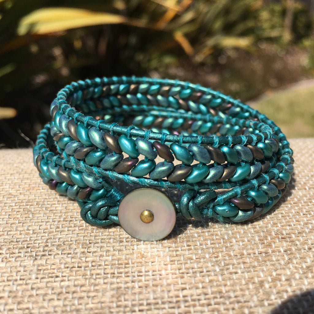 2-Wrap Bracelet - Metallic Turquoise Super Duo