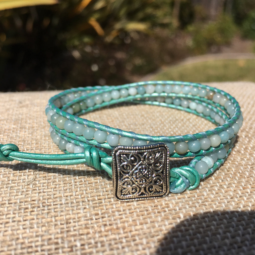 2-Wrap Bracelet - Amazonite 3mm