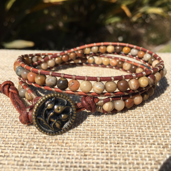 2-Wrap Bracelet - Petrified Wood - Fall Pick