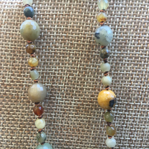 Crazy Lace Agate Knotted Necklace