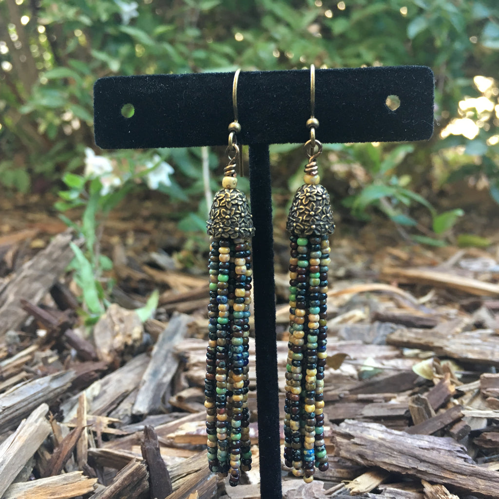 Seed Bead Tassel Earrings - Aged Picasso