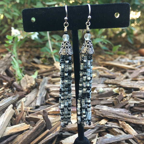Seed Bead Tassel Earrings - Black and White