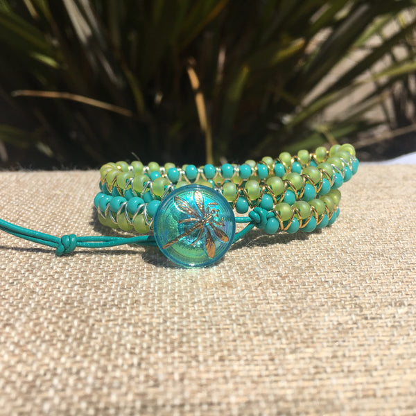2-wrap  Bracelet - Jump Ring Seed Bead Chartreuse & Turquoise