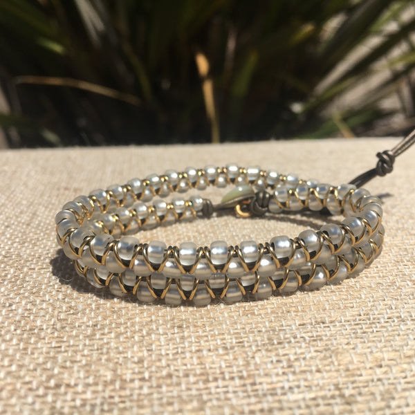 2-wrap  Bracelet - Jump Ring Seed Bead White with Gold