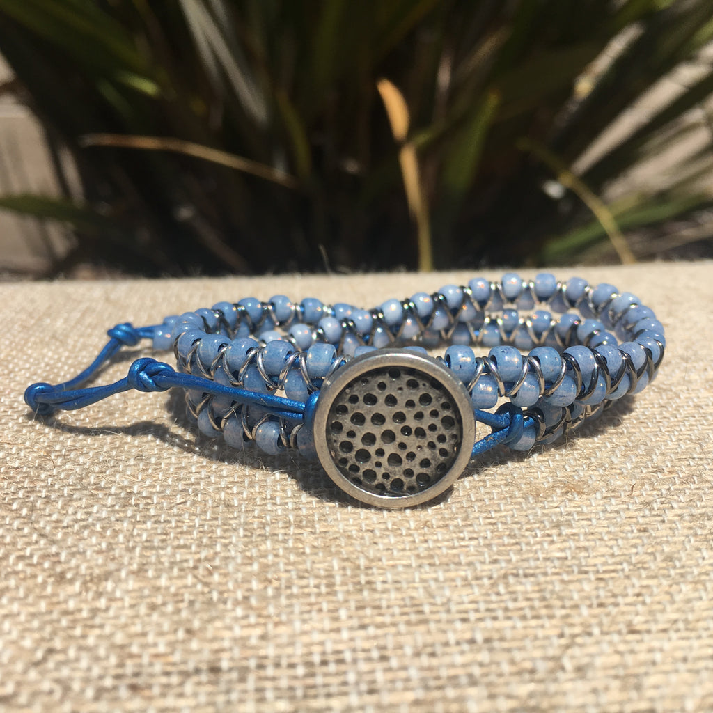 2-wrap  Bracelet - Jump Ring Seed Bead Denim #3