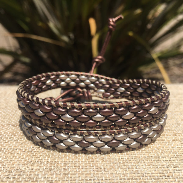 2-Wrap Bracelet - Sueded Bronze SuperDuo