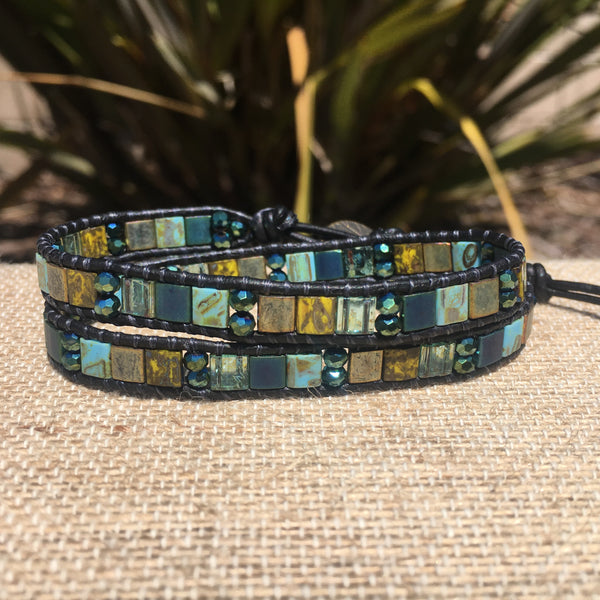 2-Wrap Bracelet - Turqoise and Blue Picasso Tila Beads & Crystal