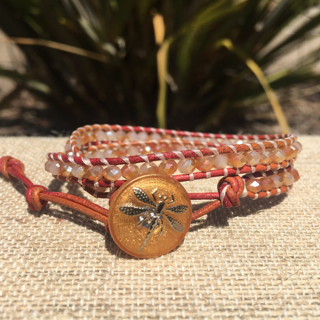2-wrap Bracelet- Golden Peach Crystals