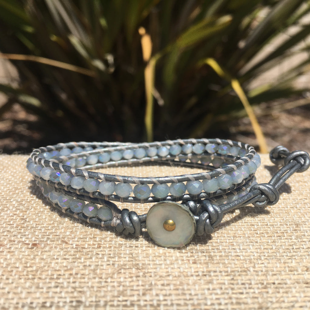 2-wrap Bracelet- Silver blues