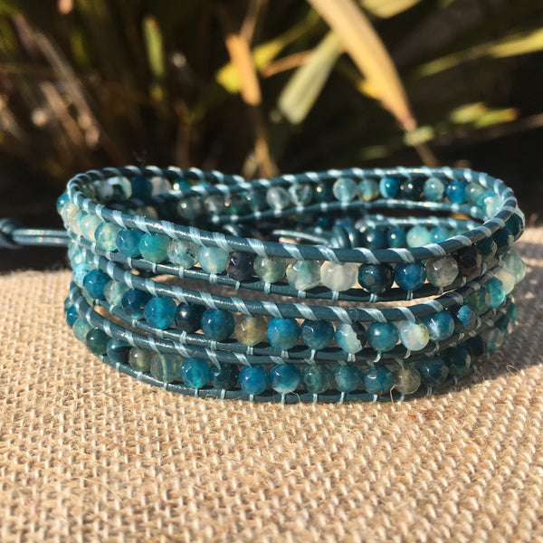 3-Wrap Bracelet -  Dyed Blue/Green Agate