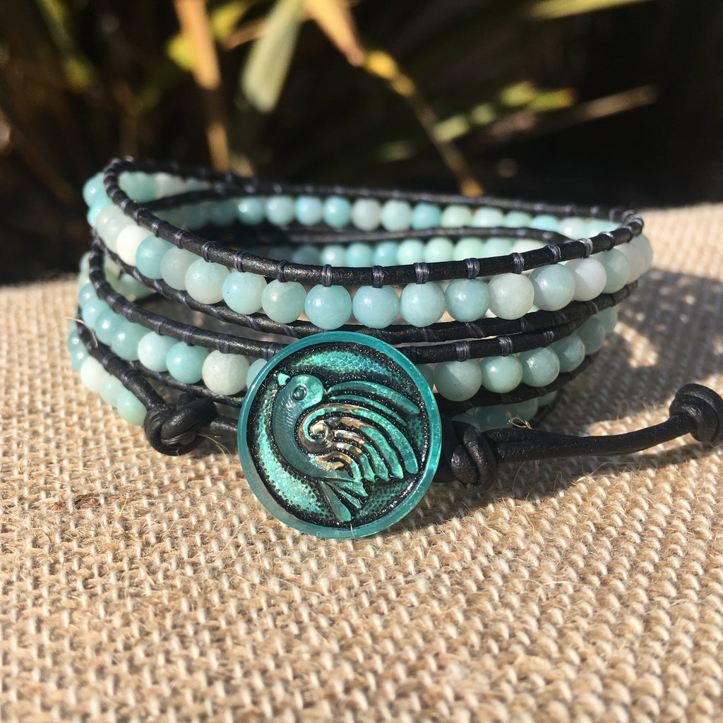 3-Wrap Bracelet - Amazonite Polished and Matte