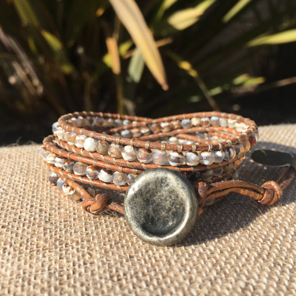 3-Wrap Bracelet - Tibetan Agate on Light Natural Grey Leather