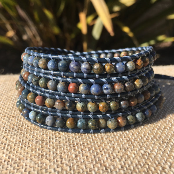 4-Wrap Bracelet - Sunset Dumorterite