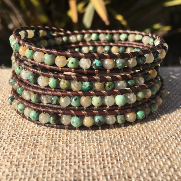 4-Wrap Bracelet - African Turquoise and Quartz