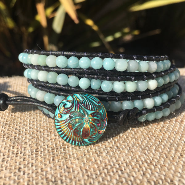 4-Wrap Bracelet - Amazonite Polished and Matte