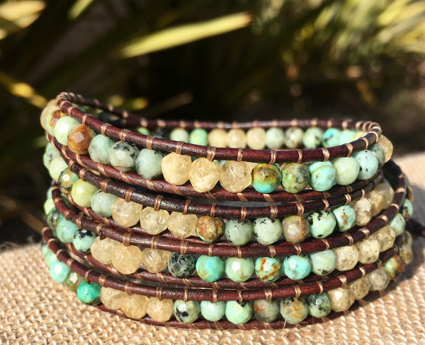 4-Wrap Bracelet - African Turquoise and Rhutilated Quartz #2