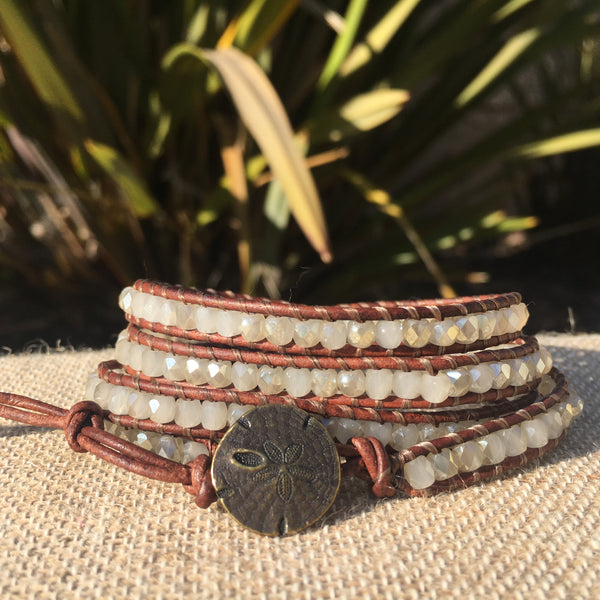 4-Wrap Bracelet - Natural with Sparkle!