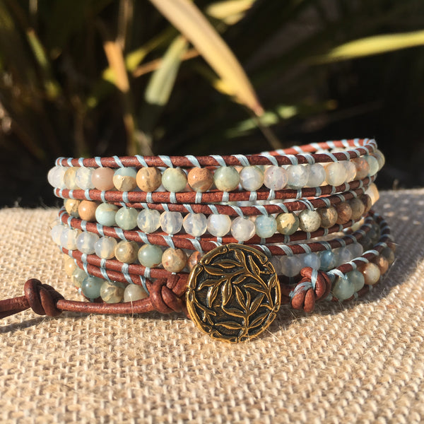 4-Wrap Bracelet - Water Agate and African Opal