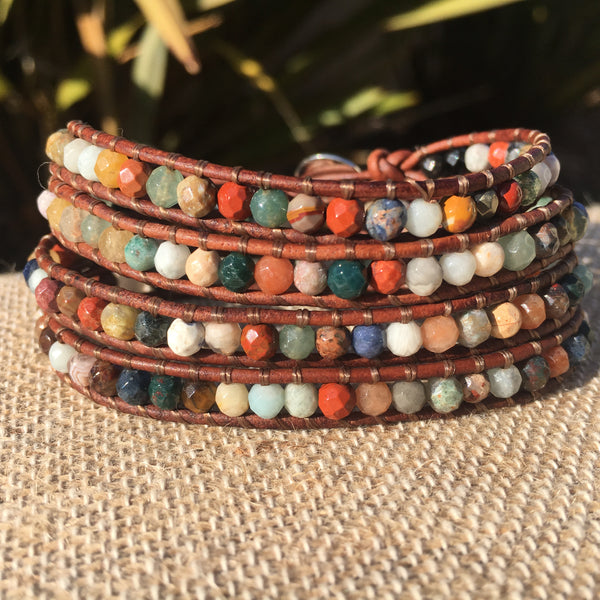 4-Wrap Bracelet - All Season Mixed Gemstone