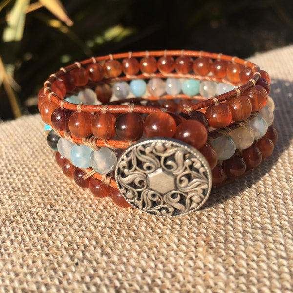 3-Row Santa Fe Cuff - Water Agate and Golden Horn