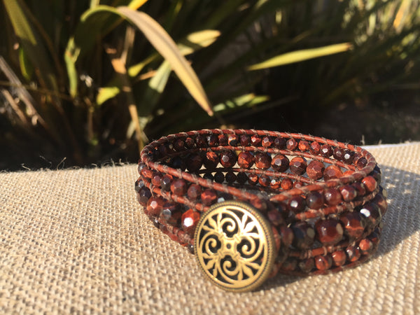 3-Row Santa Fe Cuff - Red Tiger Eye