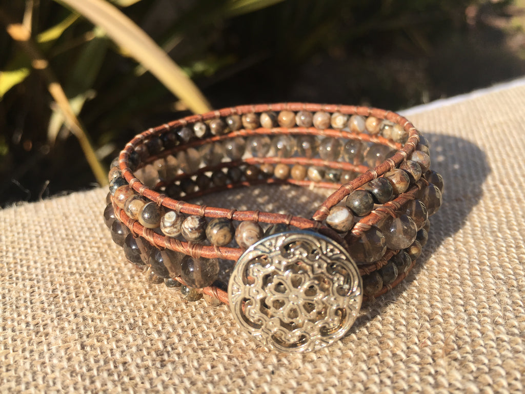 3-Row Santa Fe Cuff - Smokey Quartz with Turitella Agate