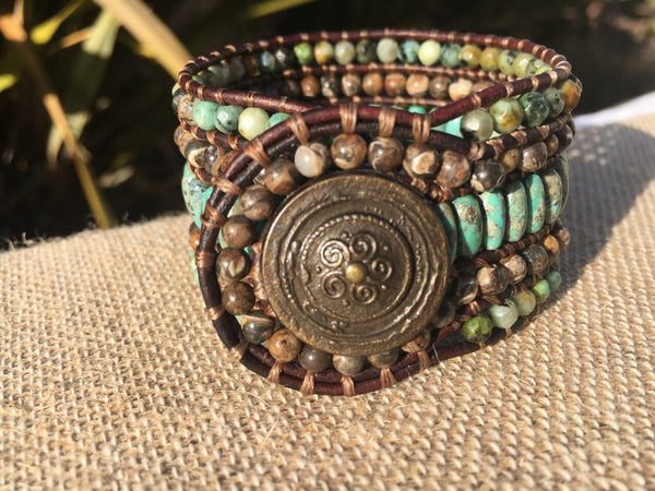 5-Row Cuff - Turquoise and Agate