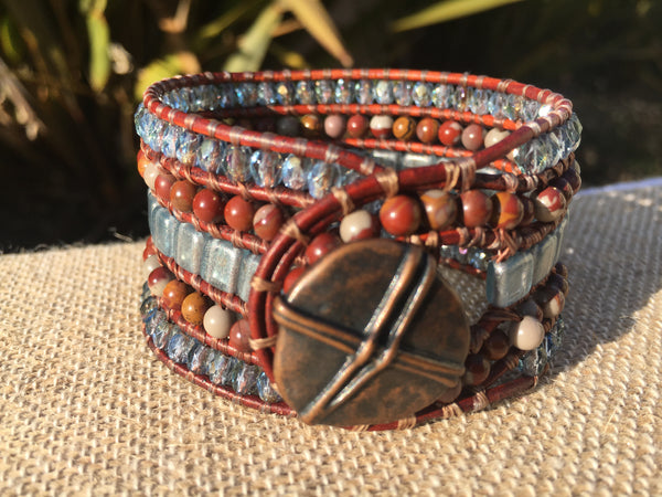 5-Row Cuff - Czech Glass with Noreena Jasper - Fall Pick