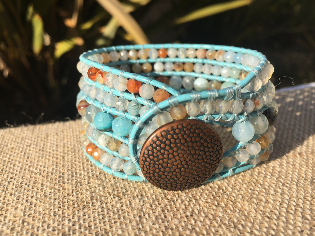 5-Row Cuff - Water Agate - New Spring Selection