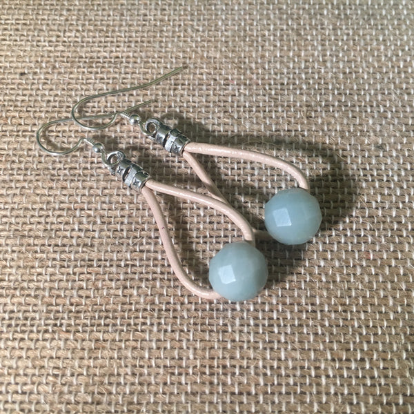 Leather Teardrop Earrings - Amazonite  on Petal Leather
