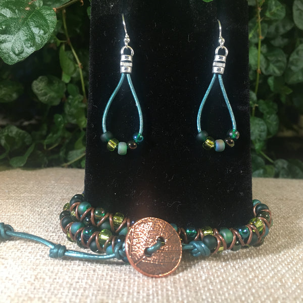 Leather Teardrop Earrings -Shades of Green Seed Beads