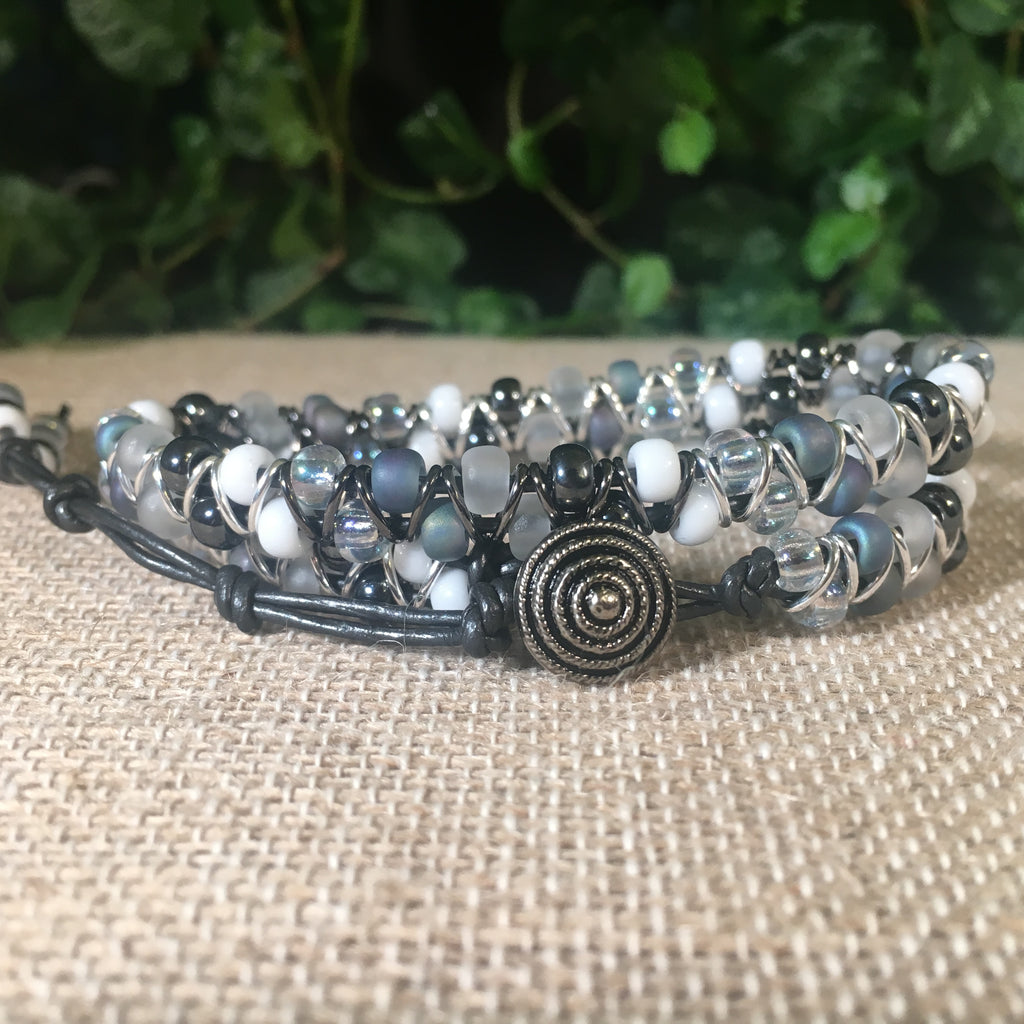 2-wrap  Bracelet - Jump Ring Seed Bead Greys and White