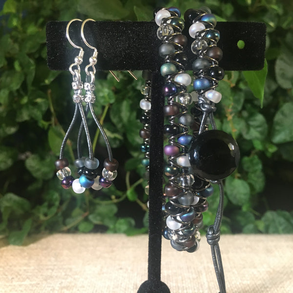 Leather Teardrop Earrings -Gunmetal Leather with Pebblestone Seed Beads
