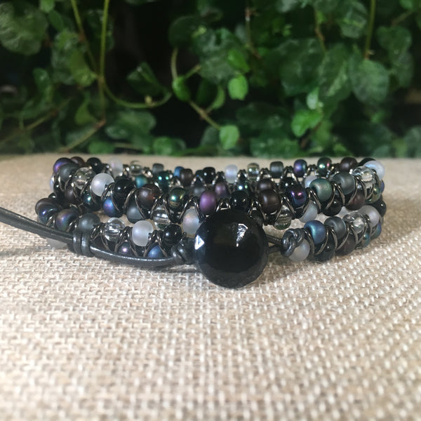 2-wrap  Bracelet - Jump Ring Seed Bead Black/Pebblestone Mix