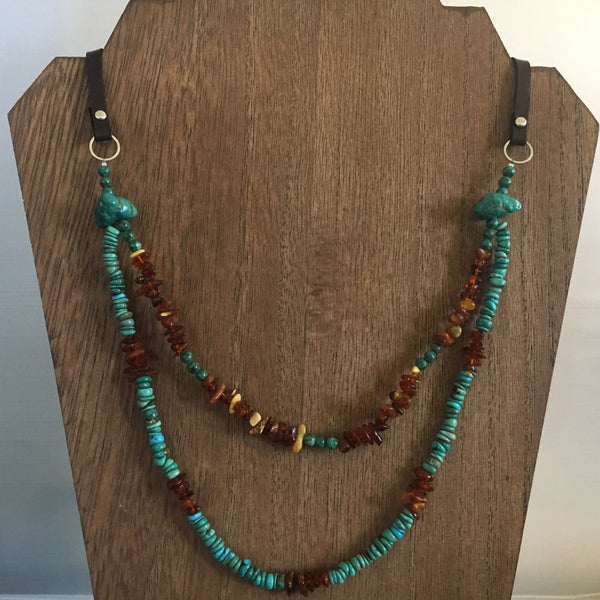 Multi Strand Turquoise and Amber Necklace