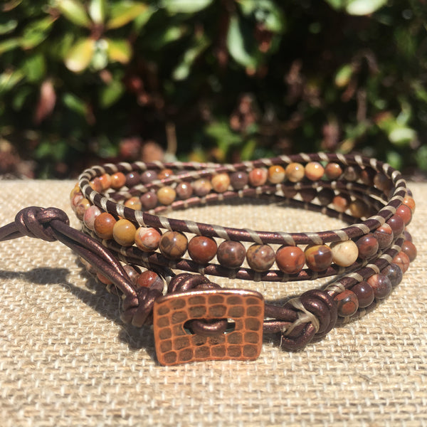 2-Wrap Bracelet - Bird's Eye Rhyolite