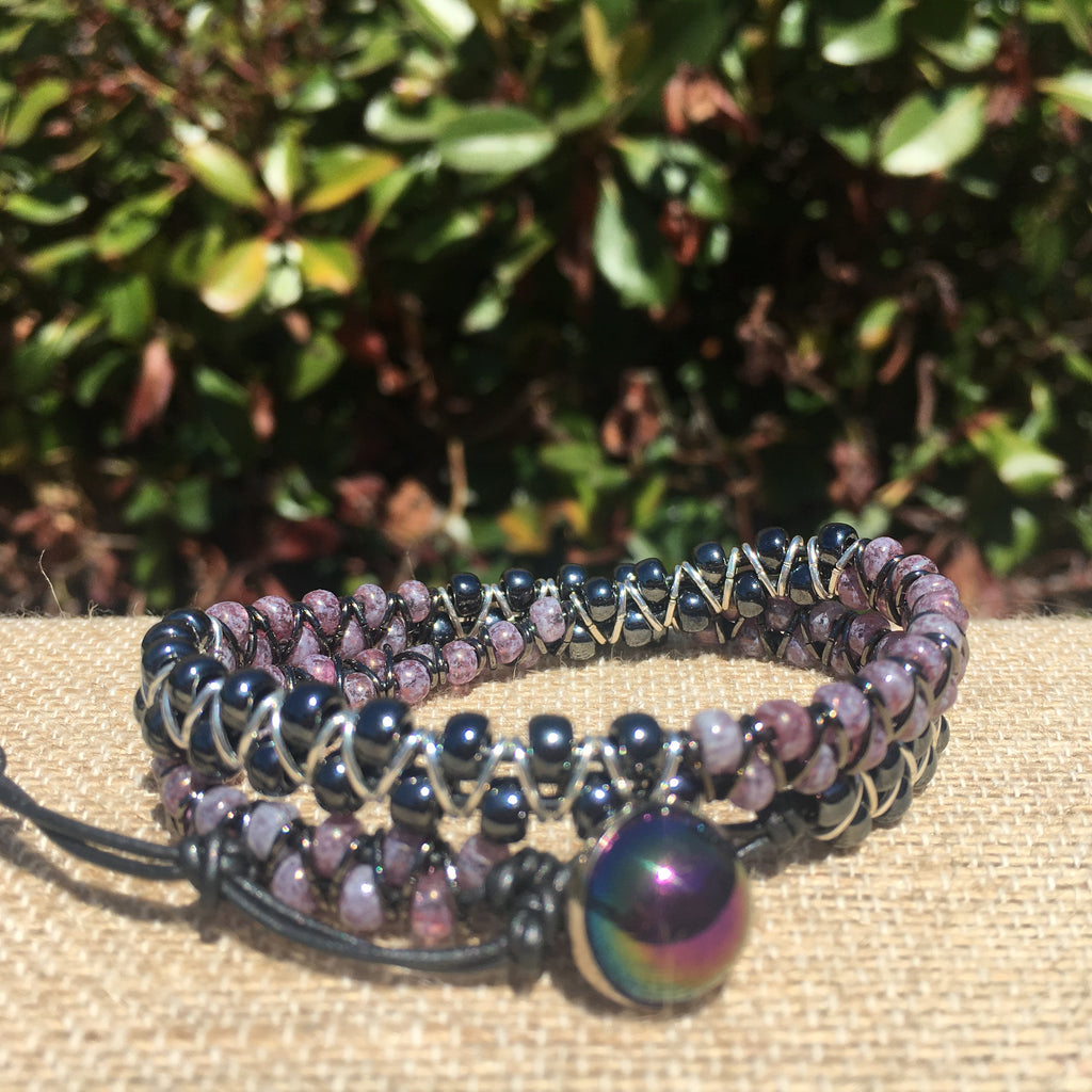 2-wrap  Bracelet - Jump Ring Seed Bead Pink Tourmeline and Hematite