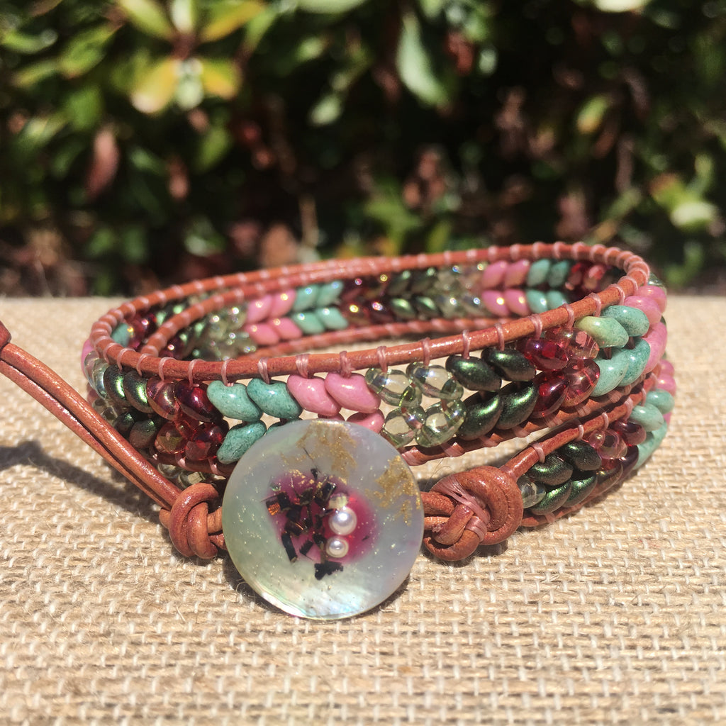 2-Wrap Bracelet - Green and Pink