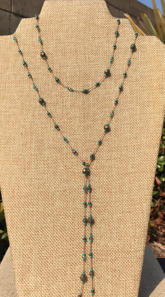 Floating  Beads  - Bronze and Turquoise Lariat Necklace
