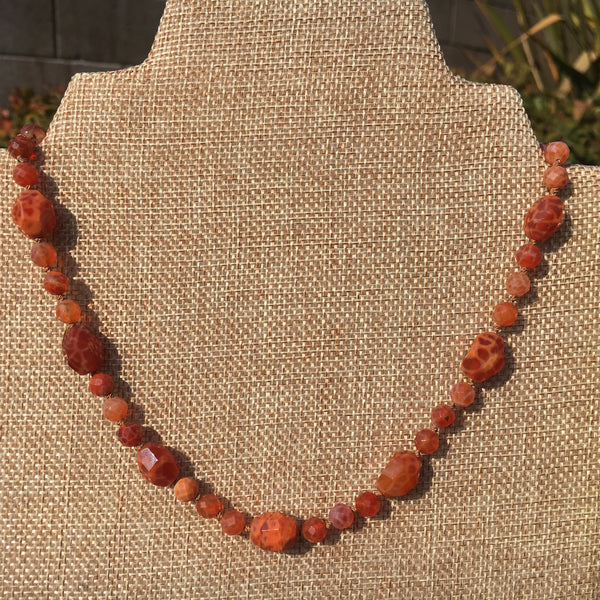 Knotted Fire Agate Necklace (Carnelian)